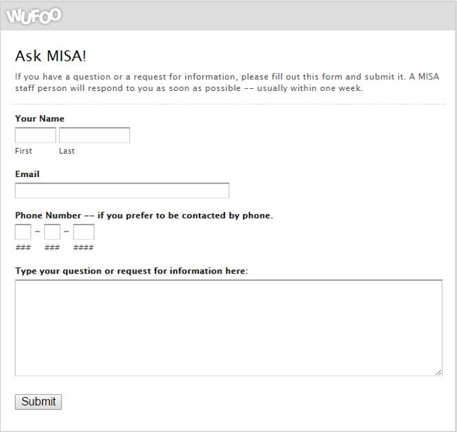 Ask MISA form