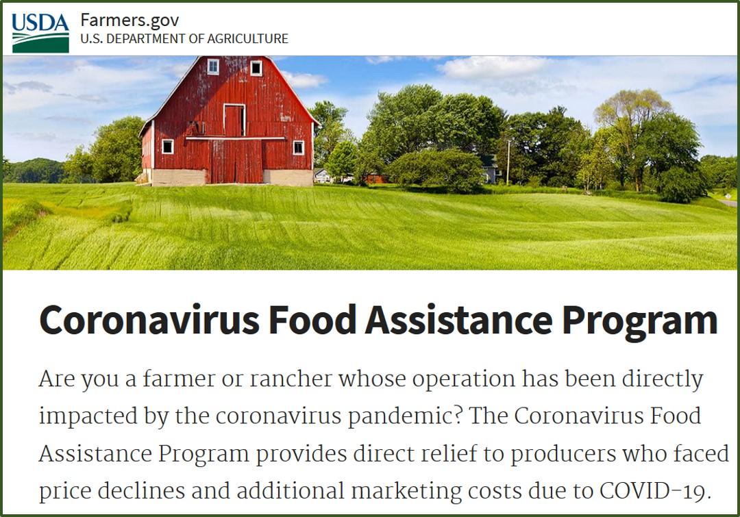 Coronavirus Food Assistance Program website from Farm Service Agency