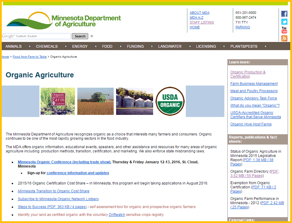 MDA organic ag homepage