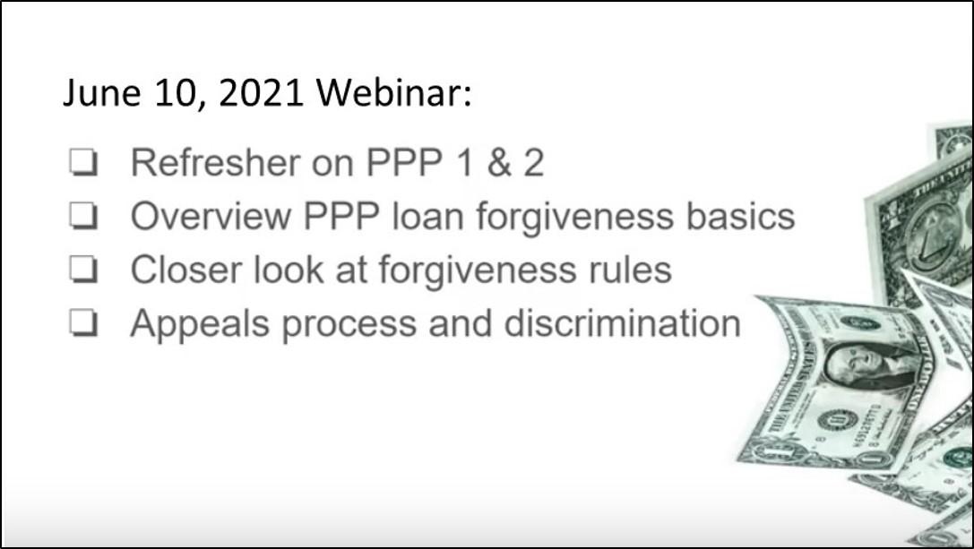 PPP loan forgiveness webinar