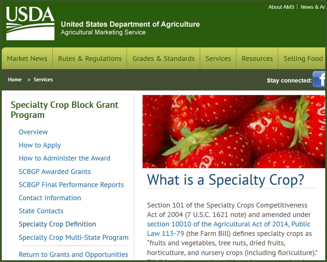 USDA-AMS specialty crop definition